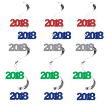 2018 Dizzy Danglers Hanging Decorations Assorted Colors 5 Ct New Years