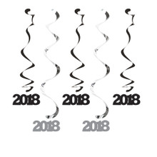 2018 Dizzy Danglers Hanging Decorations Black Silver 5 Ct New Years