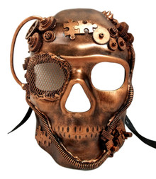 Steampunk Skull Brushed Copper Halloween Masquerade Mask