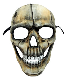 Demon Skull with Hinged Jaw Beige Black Halloween Mask