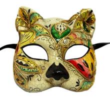 Caterina White Green Mosaic Gatto Cat Masquerade Mardi Gras Venetian Mask
