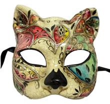 Caterina White Silver Mosaic Gatto Cat Masquerade Mardi Gras Venetian Mask