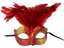 Dark Red Gold Venetian Feather Masquerade Mask Marquis Jewel