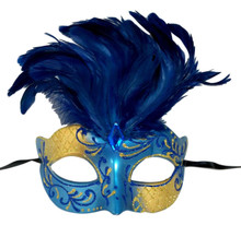 Blue Gold Venetian Feather Masquerade Mask Marquis Jewel
