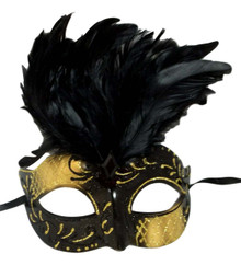Black Gold Venetian Feather Masquerade Mask Marquis Jewel
