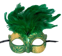 Green Gold Venetian Feather Masquerade Mask Marquis Jewel