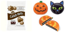 Wilton Candy Cookie Mold Pumpkin Cat Halloween AND 13 oz Melts Bag Value Pack