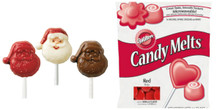 Wilton Santa Lollipop Mold And  13 Oz Red candy Melts Value Pack
