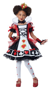 Deluxe Queen of Hearts Halloween Costume Child L 10 - 12 Bonus Safety Light