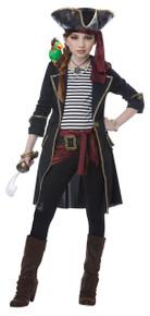 High Seas Captain Halloween Costume Girl Child XL 12 - 14 Black