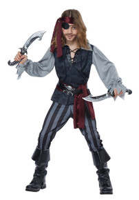 Sea Scoundrel Pirate Halloween Costume Child M 8 - 10 Black