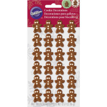 Gingerbread Man Christmas Dot Matrix Icing Decorations 24 Ct Wilton