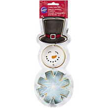 Wilton Snowman Metal Cookie Cutter 3 pc Christmas Set