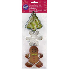 Wilton Christmas Shapes Gingerbread Boy Snowflake Tree Metal Cookie Cutter 3 Pc Set