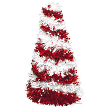 "Candy Cane Tinsel Christmas Tree 10"" Red White"