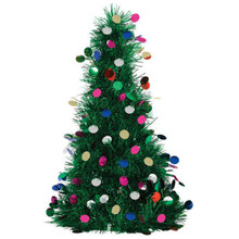 "Tinsel Christmas Tree 10"" Green with Ornaments"