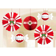 Christmas Peppermint Candy Cane 5 Pc Honeycomb  Fan Hanging Decorations