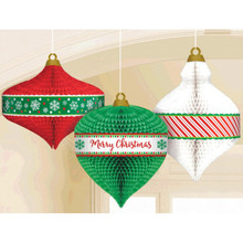 Christmas Ornament 3 Pc Honeycomb Hanging Decorations