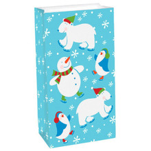 12 Frosty Friends Snowman Polar Bear Gift Treat Bags Paper Lunch Bag Sacks