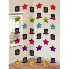 Happy New Years Eve 6 Doorway Foil Star String Decoration Jewel Tones