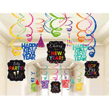 Happy New Year 30 Ct Hanging Swirls Decorations Jewel Tone Asst Colors
