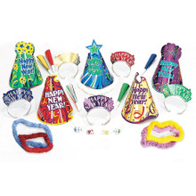 Let's Party New Years Eve Party 25 Pc Kit For 10 Guests Hats Tiaras Lei Horn