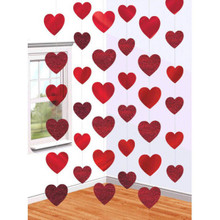 Red Hearts Valentines Day 6 Ct 7 ft Doorway String Decoration