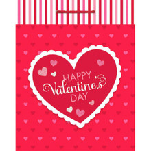 Valentines Day Hearts Glossy Gift Bag 13 x 10 1/2 x 5