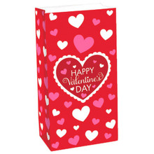 Red Valentines 12 Ct Gift Treat Bags Paper Lunch Bag Sacks