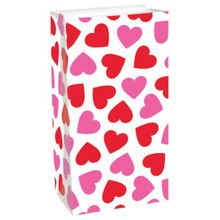 Valentine Hearts 12 Ct Gift Treat Bags Paper Lunch Bag Sacks Pink Red