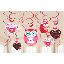 Woodland Friends Valentines Day 12 Ct Hanging Swirls Decorations Value Pack