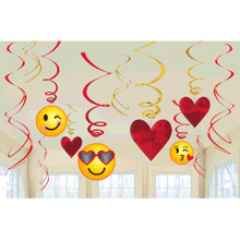 Emoji Valentines Day 12 Ct Hanging Swirls Decorations Value Pack
