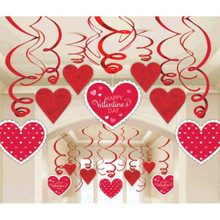 Valentines Day Hearts 30 Ct Hanging Swirls Decorations