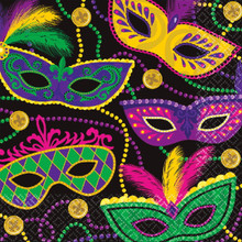 Colorful Mardi Gras Masks Beads 16 ct Luncheon Napkins