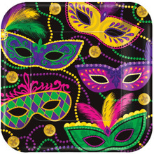 "Colorful Mardi Gras Masks Beads 8 ct 10"" Dinner Plates Paper Square"