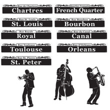 New Orleans Jazz Mardi Gras Cutouts Street Signs Paper Party Decorations