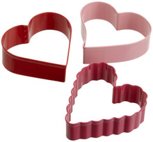 Wilton Heart Cookie Cutters Colorful Metal 3 Pc Full Size Set