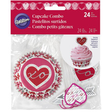 Heartfelt Confections Cupcake Combo Pack 24 Baking Liners Picks Valentines Heart