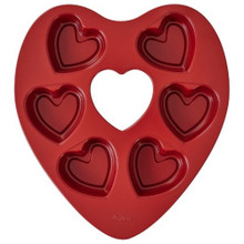 Wilton 6 Cavity Mini Heart Red Pan Treat Dessert
