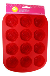 Red Rose Silicone Mold 12 Cavity Candy Treat Wilton