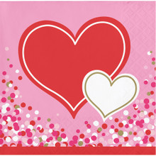 Happy Heart  Valentines Day Party 16 Ct Beverage Cocktail Napkins