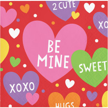 Valentine Party Candy Hearts 16 Ct Beverage Cocktail Napkins