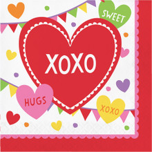 Valentine Party Candy Hearts 16 Ct Lunch Napkins XOXO Hugs Kisses