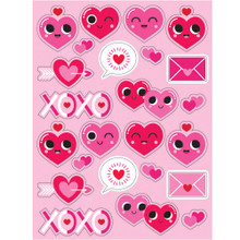 Emoji Valentines Day Heart Stickers on 4 Sheets 96 total