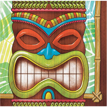 Tiki Time 16 Ct Beverage Napkins Summer Pool Party Luau