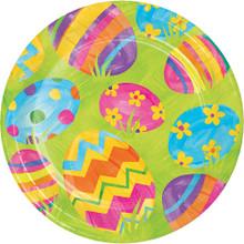 """Easter Egg Toss 8 Ct 7"""" Dessert Cake Paper Plates"""