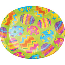 Easter Egg Toss 8 Ct Oval Banquet Paper Platters Plates Bright Colorful