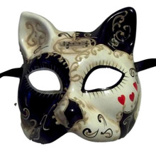 White Black with Red Hearts Cat Masquerade Mardi Gras Venetian Mask