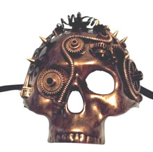 Copper Steampunk Gears Jawless Skull Halloween Masquerade Mask