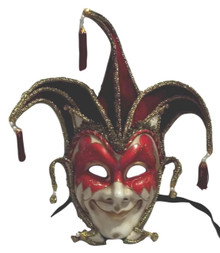 Jester Stick Mask Red Decorate or Wear Mardi Gras Masquerade Mask Wall Hanging